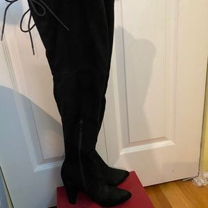Black Suede Thigh High Boots RUNS LARGER